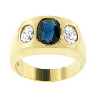 Other Estate 14k Yellow Gold Diamond And Sapphire Stone Ring