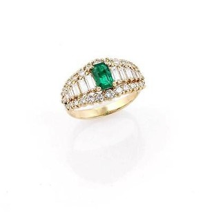 Estate 14k Yellow Gold Emerald Diamond Cocktail Ring -