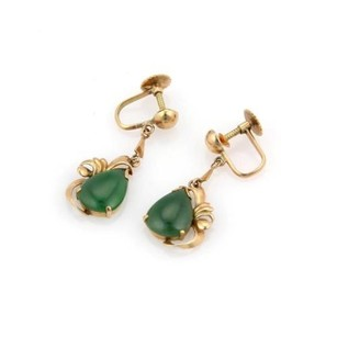 Estate 14k Yellow Gold Non Pierced Pear Shaped Jade Drop Earrings
