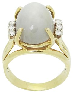 Estate 14k Yellow Gold Round Cut Diamond Star Sapphire Ring 7.25 R384