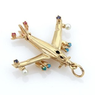 Estate 14k Yellow Gold Turquoise Sapphire Ruby Pearls Airplane Pendant
