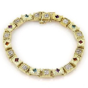 Estate 14kt Ygold Vs1 Diamonds Multi-color Gemstones Milgrain Design Bracelet