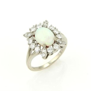 Other Estate 1.70ct Diamond Australian Opal Cocktail Ring In14k White Gold