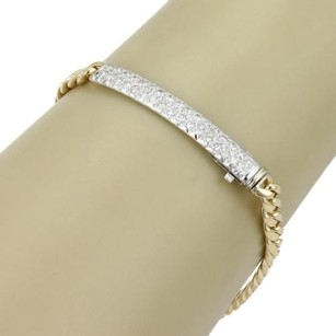 Estate 18k Gold 1.50ct Pave Diamonds Id Bar Curb Link Bracelet