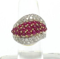 Other Estate 18k Two Tone Gold 1.84ct Brilliant Diamond Natural Cabochon Ruby Ring
