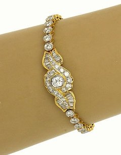 Estate 18k Two Tone Gold 4.82ctw Diamond Floral Design Bracelet