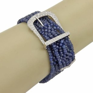 Estate 18k White Gold 1.85ct Diamond Beaded Sapphire Belt Buckle Bracelet
