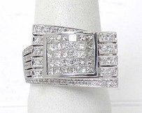 Estate 18k White Gold 3tcw Invisible Set Diamond Belt Buckle Design Ring