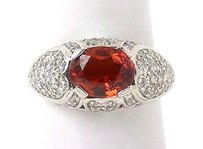 Estate 18k White Gold 4.50ctw Diamond Oval Cut Garnet Dome Style Cocktail Ring