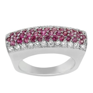 Other Estate 18k White Gold Diamond And Pink Sapphire Cocktail Ring