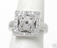 Estate 18k White Gold Diamond Square Top Ring