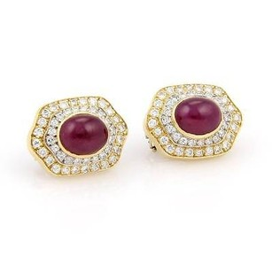 Estate 18k Yellow Gold 11.86ct Cabochon Ruby Diamonds Omega Back Stud Earrings