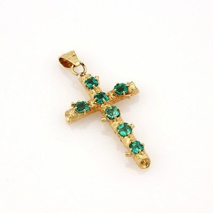 Other Estate 18k Yellow Gold 2.00ct Fancy Colombian Emerald Bamboo Cross Pendant