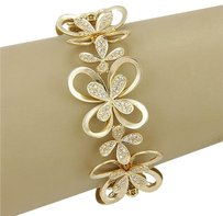 Other Estate 18k Yellow Gold 3.40ctw Diamond Flower Link Bracelet