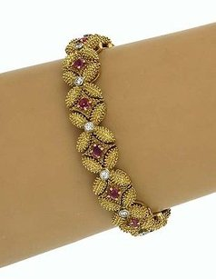 Estate 18k Yellow Gold 3.4ctw Diamond Ruby Floral Design Bracelet