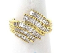 Estate 18k Yellow Gold 3ctw Baguette Cut Diamond Ladies Cocktail Ring