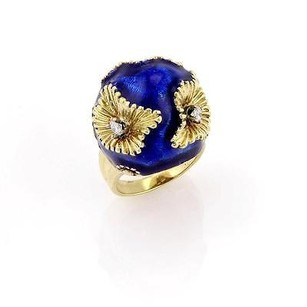 Other Estate 18k Yellow Gold Diamond Floral Dome Ring With Blue Enamel