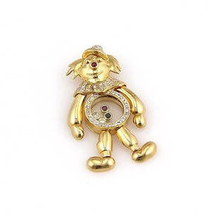Other Estate 18k Yellow Gold Diamond Sapphire And Ruby Clown Pendant