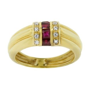 Other Estate 18k Yellow Gold Three Row Diamond And Ruby Band
