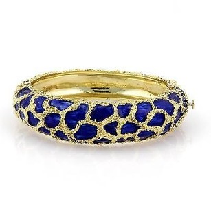 Other Estate 18kt Yellow Gold Cobalt Blue Enamel Fancy Design Bangle Bracelet
