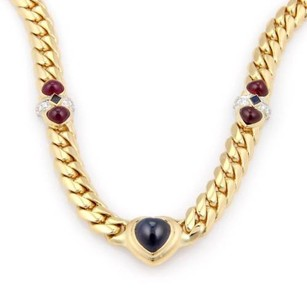Estate 18kt Yellow Gold Diamond Cabochon Sapphire Ruby Cuban Link Necklace