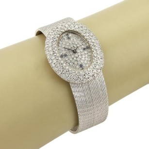Estate 2.00ct Diamond Face Dial 14k White Gold Watch