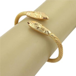 Other Estate 21k Yellow Gold Cable Wire Double Spear Head Bypass Bangle Bracelet