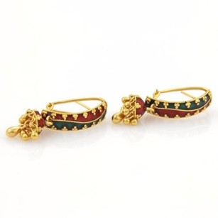 Estate 22k Yellow Gold Green Red Enamel Floral Curved Jhumki Earrings