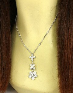 Estate 2ct Diamond Floral Motif Drop Pendant Necklace In 18k White Gold