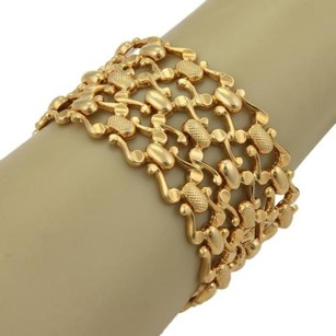 Estate 37mm Wide Open Fancy Design 18k Yellow Gold Flex Bracelet 7.5 Long