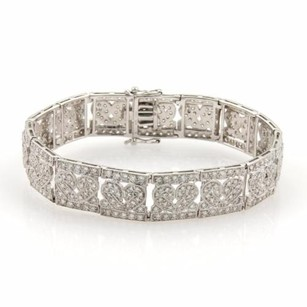 Estate 4ct Diamonds 18k White Gold Hearts Milgrain Design Bracelet