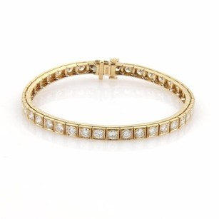 Estate 6ct Diamonds 14k Yellow Gold Square Link Tennis Eternity Bracelet