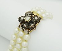 Estate Antique 18k Gold Rose Cut Diamonds Culured Pearls Strand Bracelet B83
