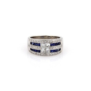 Estate Platinum Invisible Set Diamond And Sapphire 10mm Band -