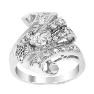 Estate Platinum Marquis And Round Diamond Ribbon Ring