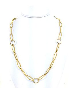 Estate Solid 18k Yellow Gold Ladies Elegant Twist Link Chain Necklace 29