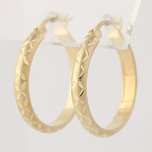 Etched Gold Hoop Earrings - 14k Yellow Gold Polished Fine Estate Pierced