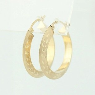 Other Etched Hoop Earrings - 10k Yellow Gold Matte Finish Pierced