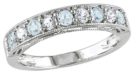 Other 34 Ct Tgw Blue Topaz - Sky White Sapphire Fashion Ring In Sterling Silver