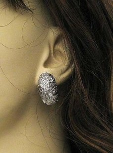 Other Exotic 14k White Gold 4ctw Champagne White Diamond Huggie Earrings
