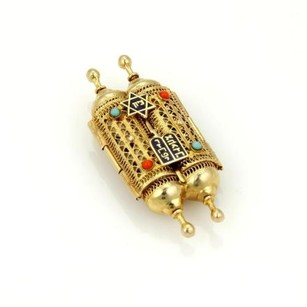 Other Exquisite 14k Yellow Gold Enamel Turquoise Coral Torah Double Scroll Pendant