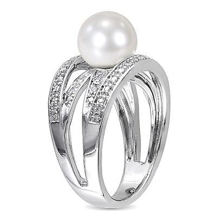 Other Sterling Silver Freshwater White Pearl And Diamond Ring 9-9.5mm G-h I2-i3