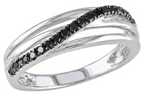 Other Sterling Silver 15 Ct Tw Black Diamond Fashion Twist Crossover Ring