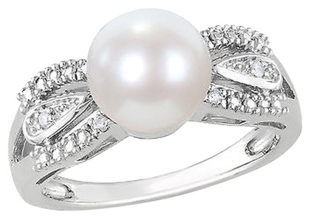Other 0.05 Ct Diamond 9 - 9.5 Mm White Freshwater Pearl Fashion Ring Silver Gh I2i3