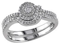 10k White Gold 13 Ct Diamond Tw Bridal Set Ring Gh I2-i3