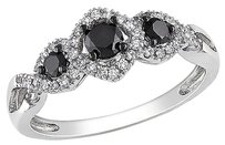 Other 10k White Gold 12 Ct Black And White Diamond Tw 3 Stone Ring Gh I2-i3