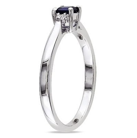 Other Sterling Silver Created Blue Sapphire And Diamond Solitare Ring G-h I2-i3
