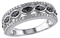Other Sterling Silver 14 Ct Tw Black And White Diamond Braided Fashion Ring Gh I2i3