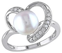 110 Ct Diamond Tw 8 - 8.5 Mm White Freshwater Pearl Fashion Ring Silver I3