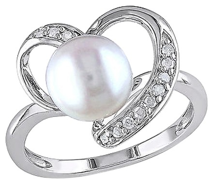 Other 110 Ct Diamond Tw 8 - 8.5 Mm White Freshwater Pearl Fashion Ring Silver I3